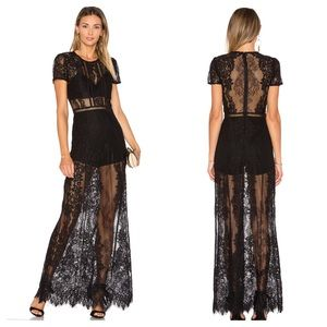 Lovers + Friends Romantic Night Dress Lace Black